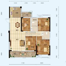 景江豪庭3#楼户型C户型图