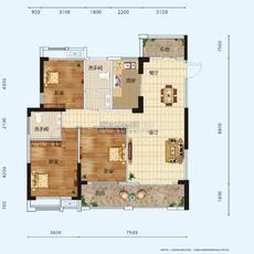 景江豪庭3#楼户型A户型图