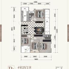 晋梅九坤·学府城B1户型户型图