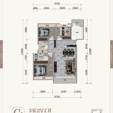 晉梅九坤·學府城C1戶型戶型圖