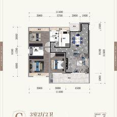 晉梅九坤·學府城C戶型戶型圖