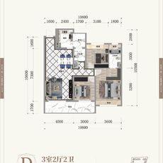 晋梅九坤·学府城D户型户型图
