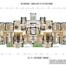 交投·碧桂园翡翠公馆YJ215户型 225㎡户型图